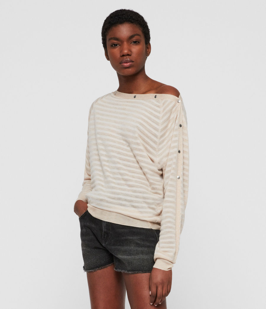 Womens Elle Stripe Sweater (parchment_pink) - Image 2