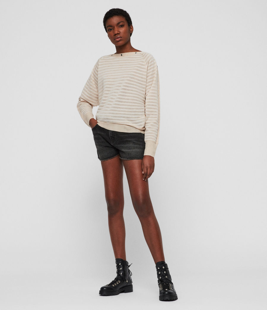 Womens Elle Stripe Sweater (parchment_pink) - Image 3