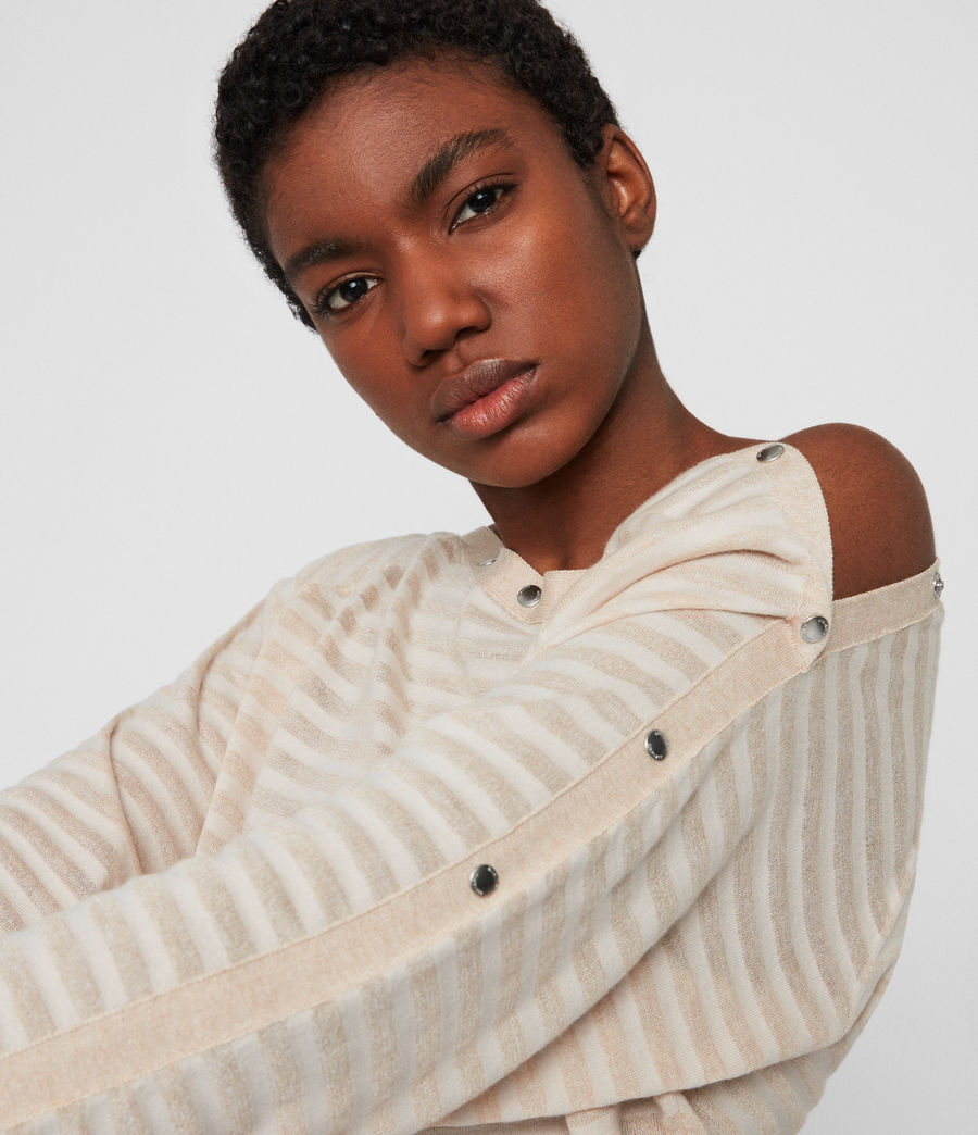 Womens Elle Stripe Sweater (parchment_pink) - Image 4