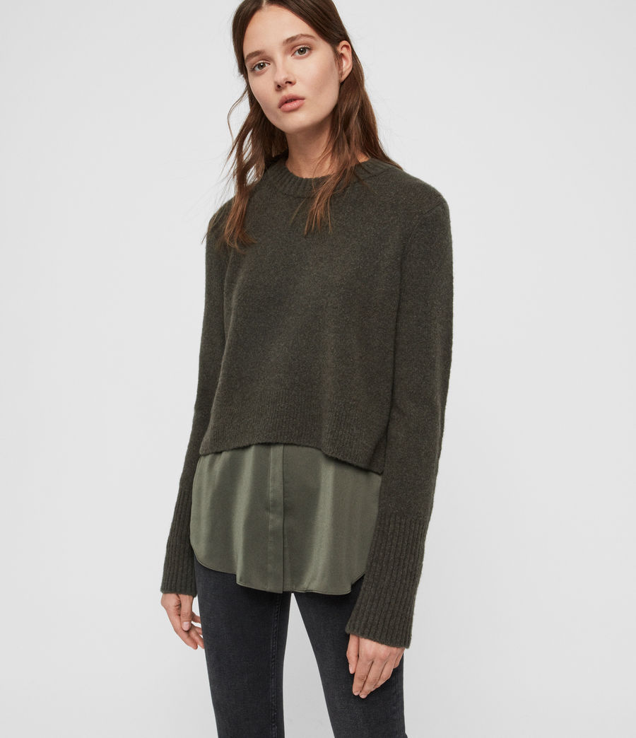 Womens Tierny Shirt Sweater (military_green) - Image 1