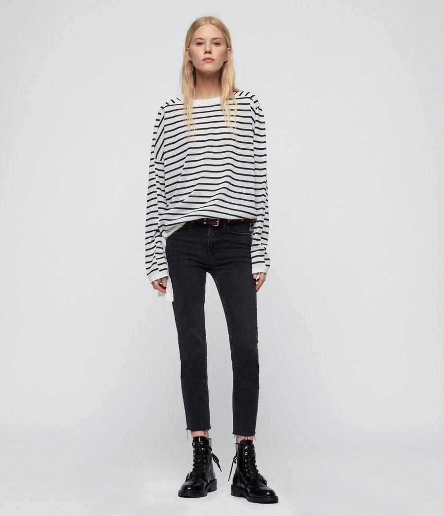 Womens Salina Sweater (chk_white_ink_navy) - Image 1