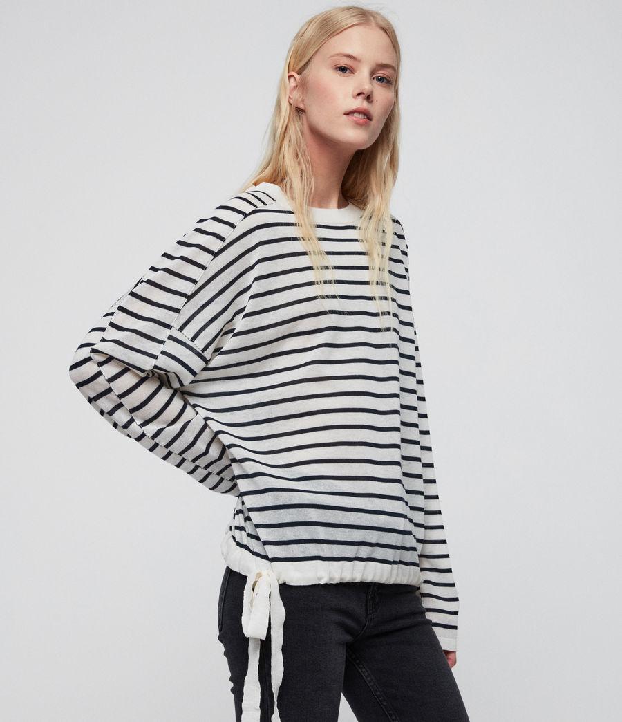 Womens Salina Sweater (chk_white_ink_navy) - Image 2