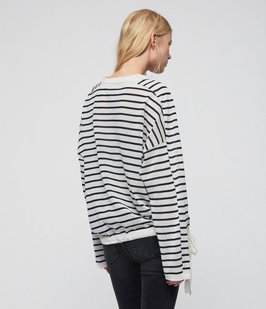 Womens Salina Sweater (chk_white_ink_navy) - Image 4