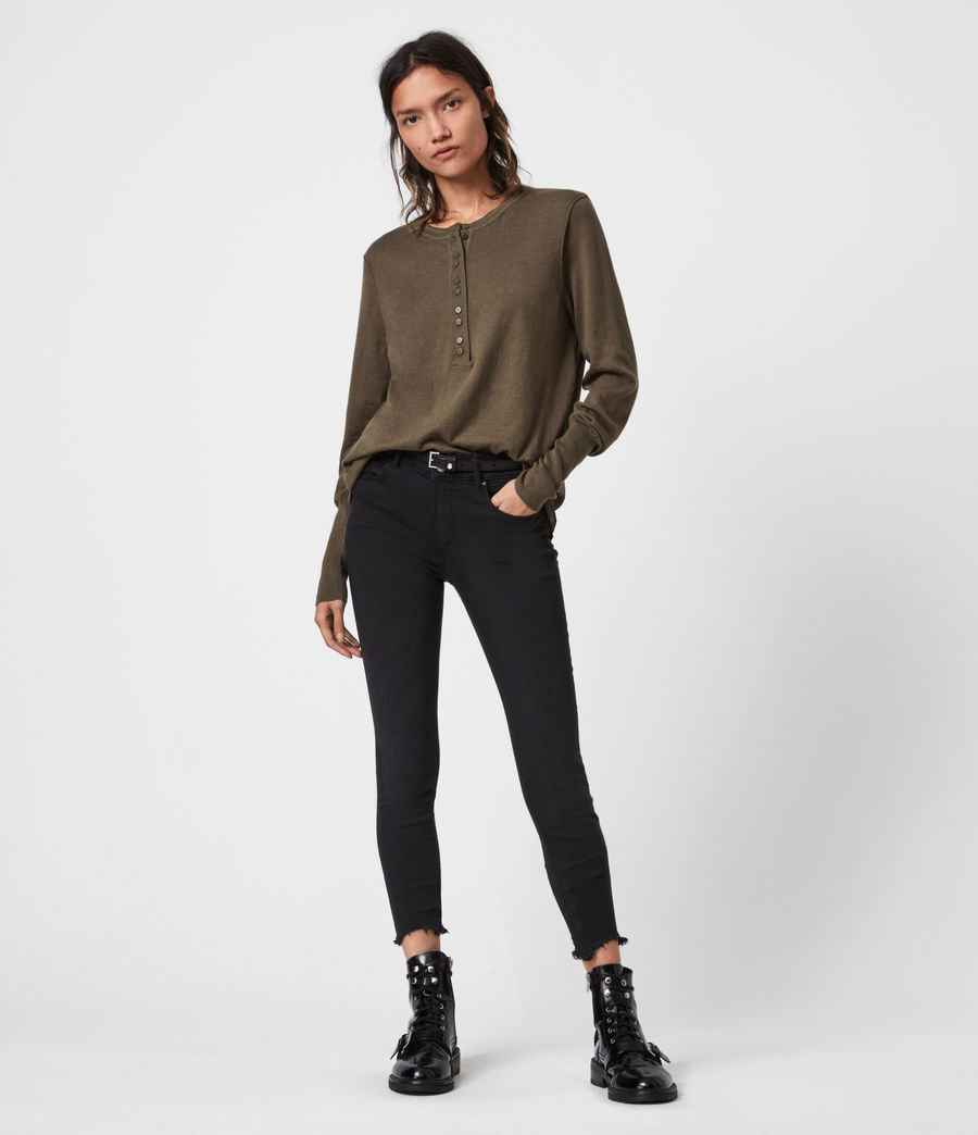Womens Afelia Cashmere Blend Sweater (olive_green) - Image 1