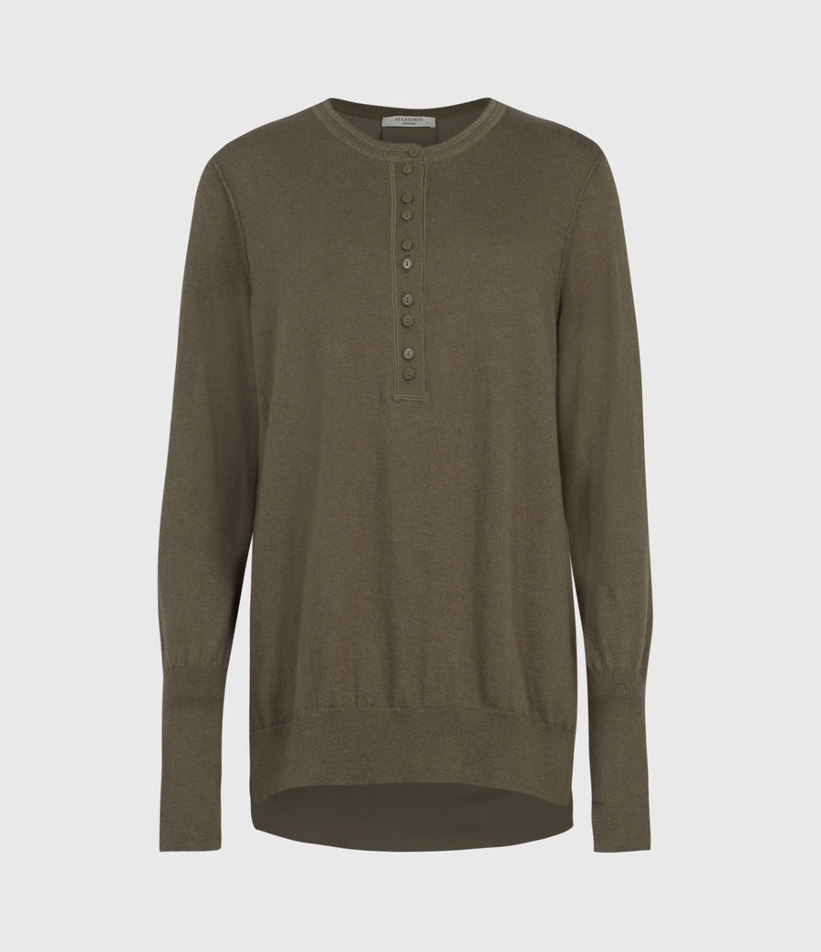 Womens Afelia Cashmere Blend Sweater (olive_green) - Image 2