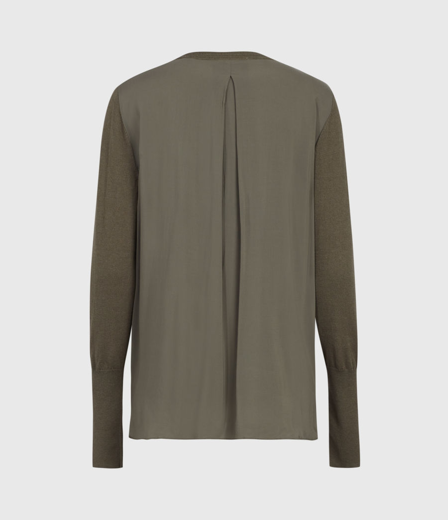 Womens Afelia Cashmere Blend Sweater (olive_green) - Image 3