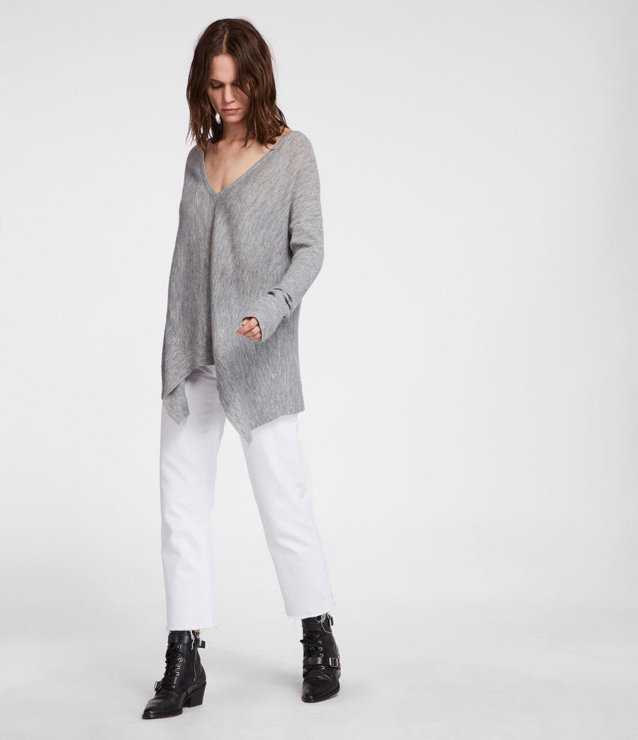 Women's Kelsey V-neck Jumper (pale_grey) - Image 1