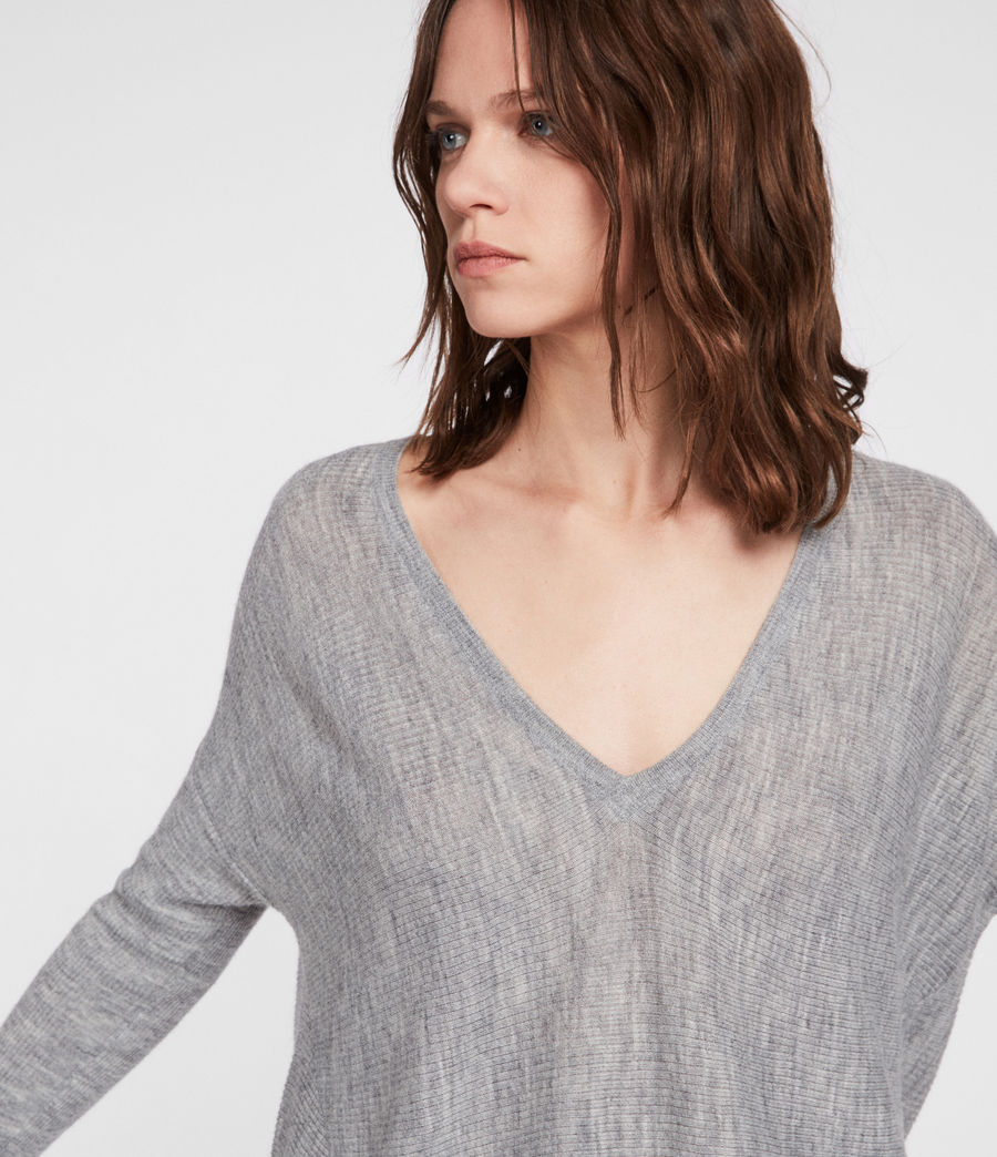 Women's Kelsey V-neck Jumper (pale_grey) - Image 2