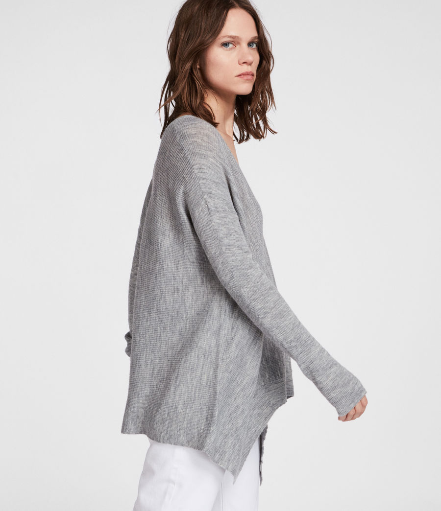 Womens Kelsey V-neck Sweater (pale_grey) - Image 3