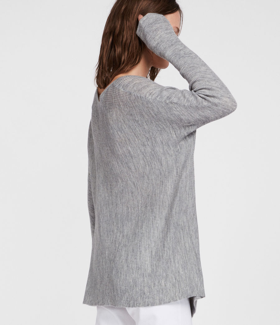 Womens Kelsey V-neck Sweater (pale_grey) - Image 4