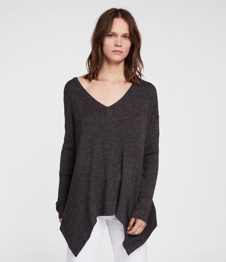 Womens Kelsey V-neck Sweater (cinder_black_marl) - Image 1