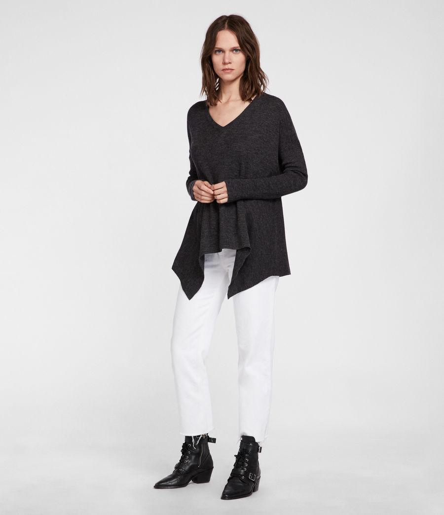 Womens Kelsey V-neck Sweater (cinder_black_marl) - Image 2