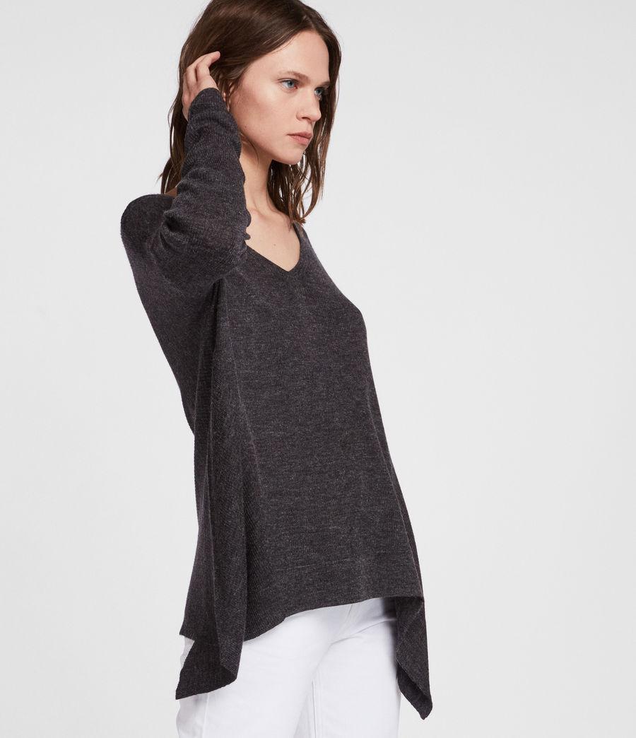 Womens Kelsey V-neck Sweater (cinder_black_marl) - Image 3