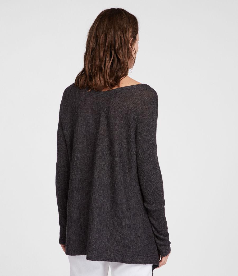 Womens Kelsey V-neck Sweater (cinder_black_marl) - Image 4