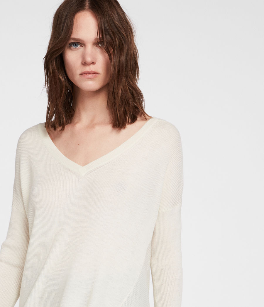 Womens Kelsey V-neck Sweater (chalk_white) - Image 2