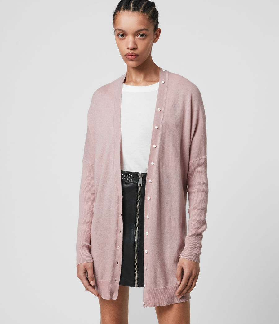 Womens Afelia Cashmere Blend Cardigan (peony_pink) - Image 3