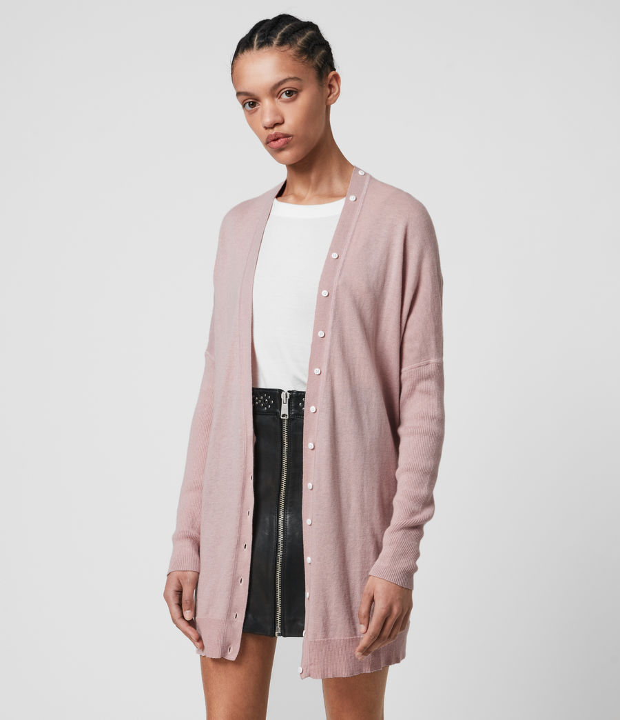 Womens Afelia Cashmere Blend Cardigan (peony_pink) - Image 4