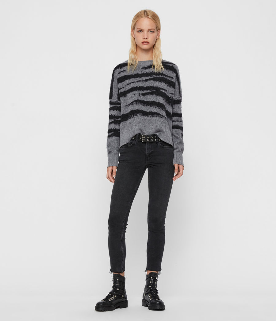 Womens Ture Crew Sweater (grey_marl_black) - Image 1