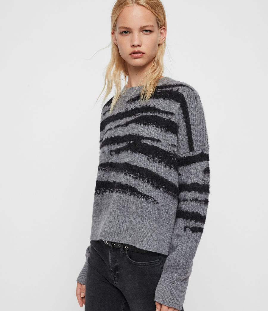 Womens Ture Crew Sweater (grey_marl_black) - Image 2