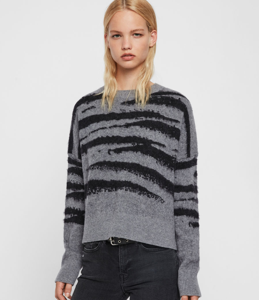 Womens Ture Crew Sweater (grey_marl_black) - Image 3