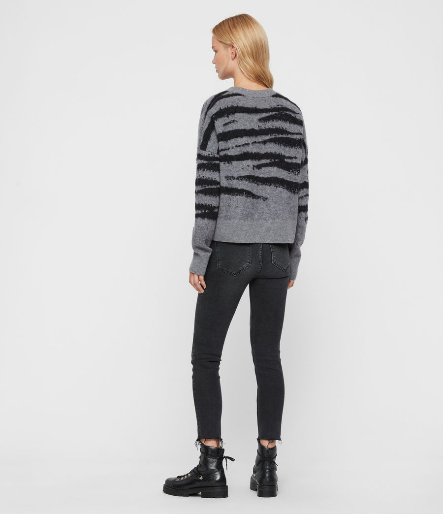 Womens Ture Crew Sweater (grey_marl_black) - Image 5