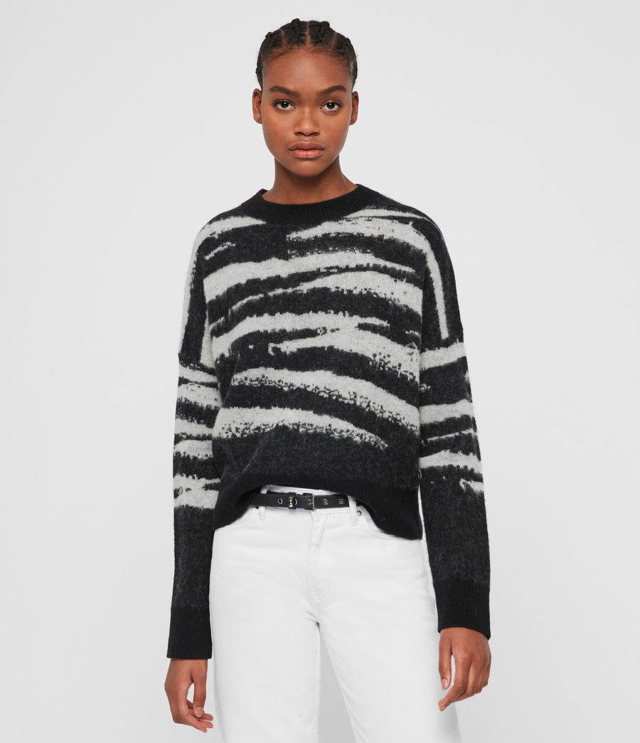 Womens Ture Crew Sweater (black_chalk_white) - Image 1