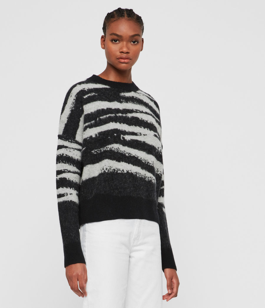 Womens Ture Crew Sweater (black_chalk_white) - Image 4