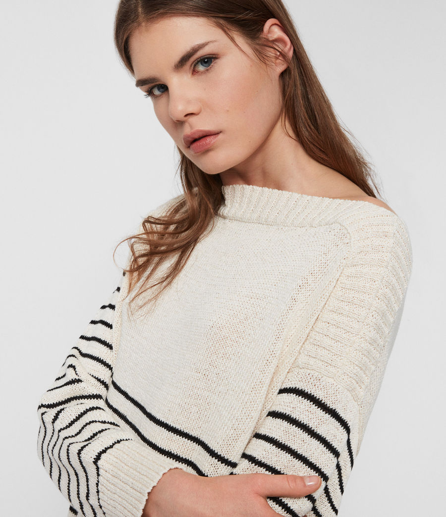 Womens Ives Breton Sweater (antiquewhite_black) - Image 3