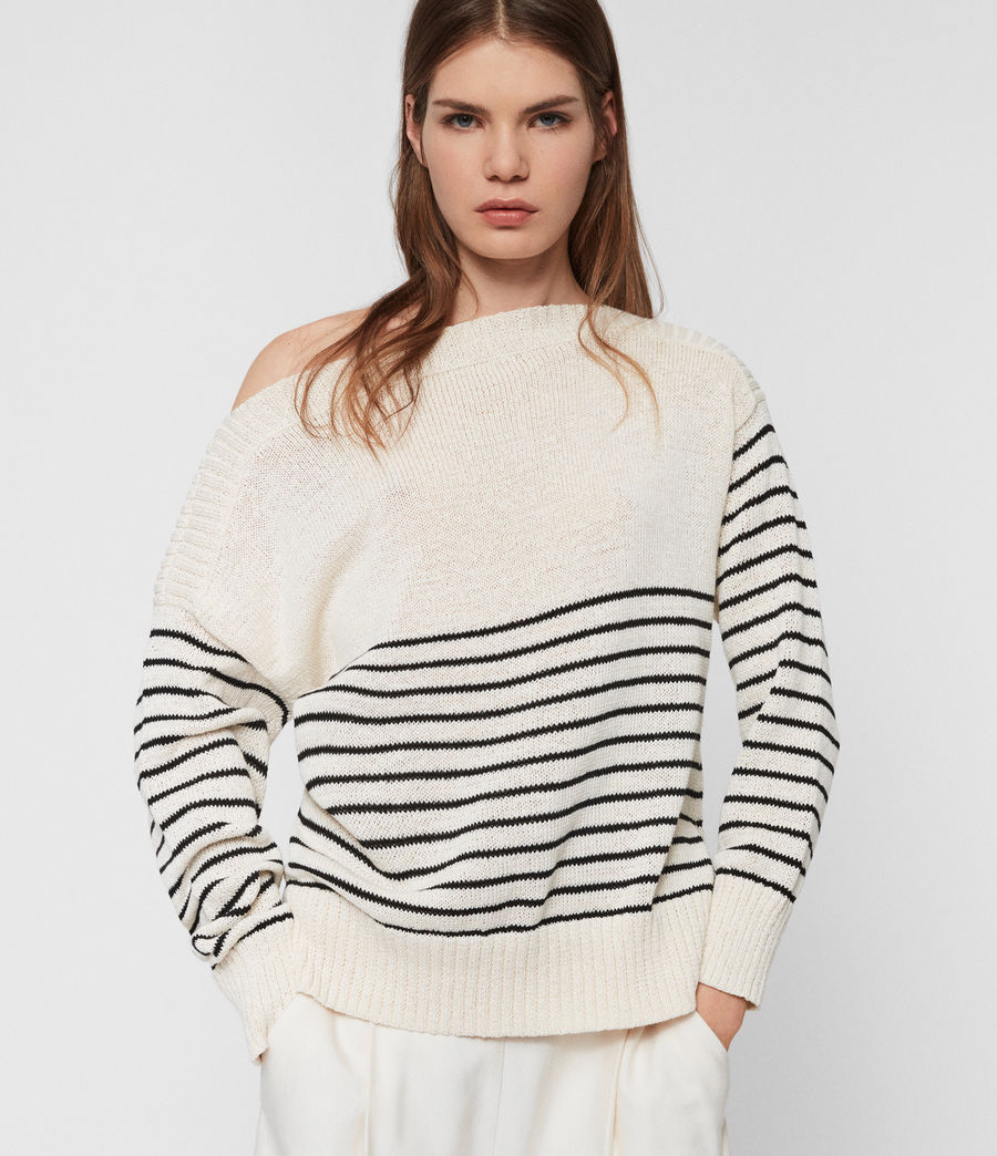 Womens Ives Breton Sweater (antiquewhite_black) - Image 4