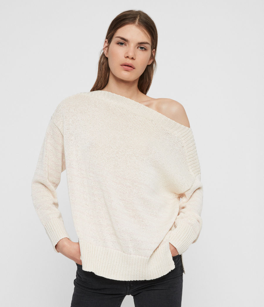 Womens Ives Breton Sweater (antique_white_pink) - Image 1