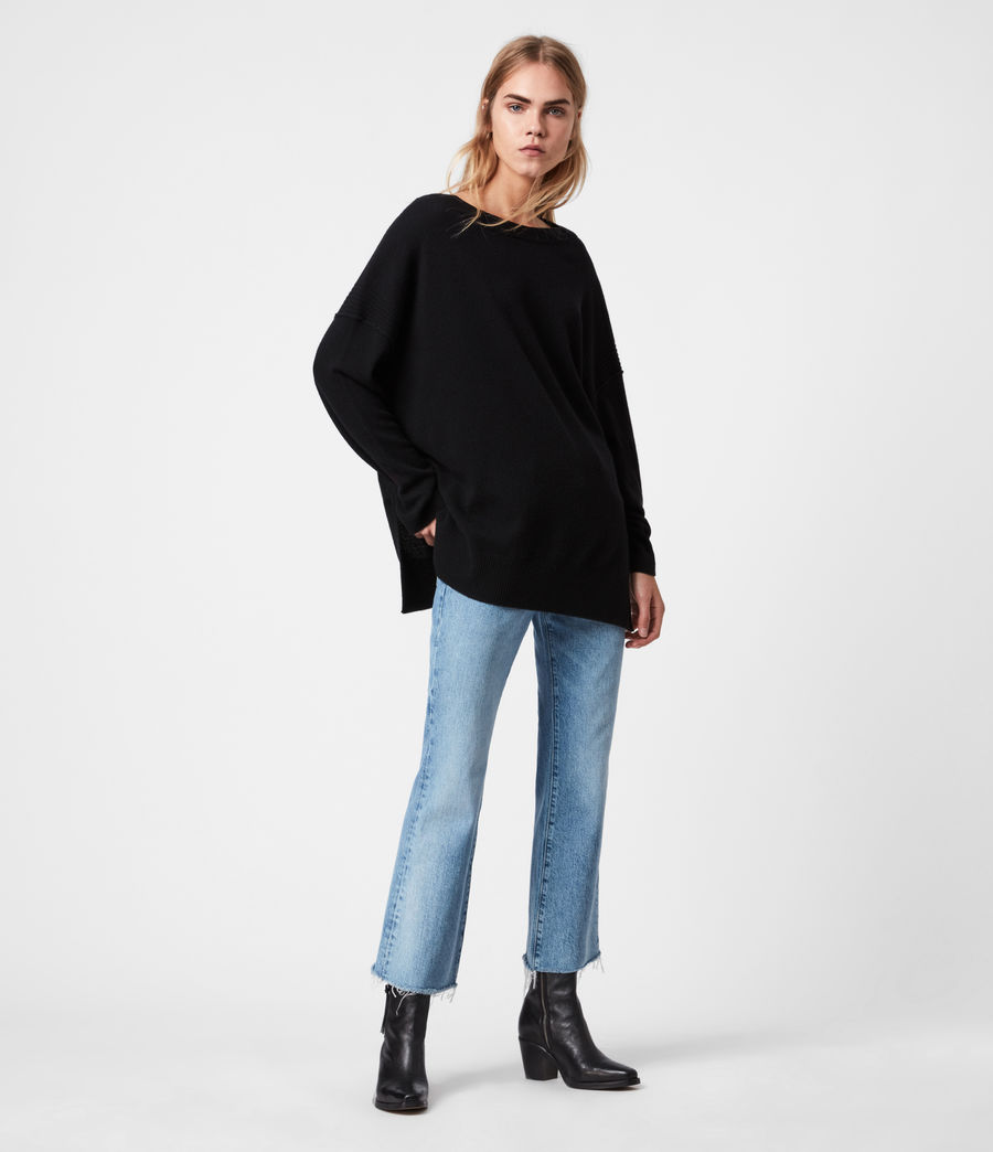 Womens Tara Pointelle Sweater (black) - Image 1