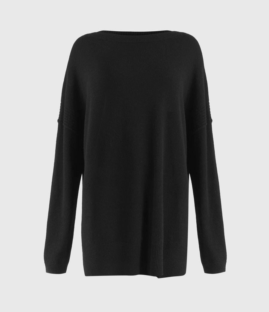 Womens Tara Pointelle Sweater (black) - Image 2