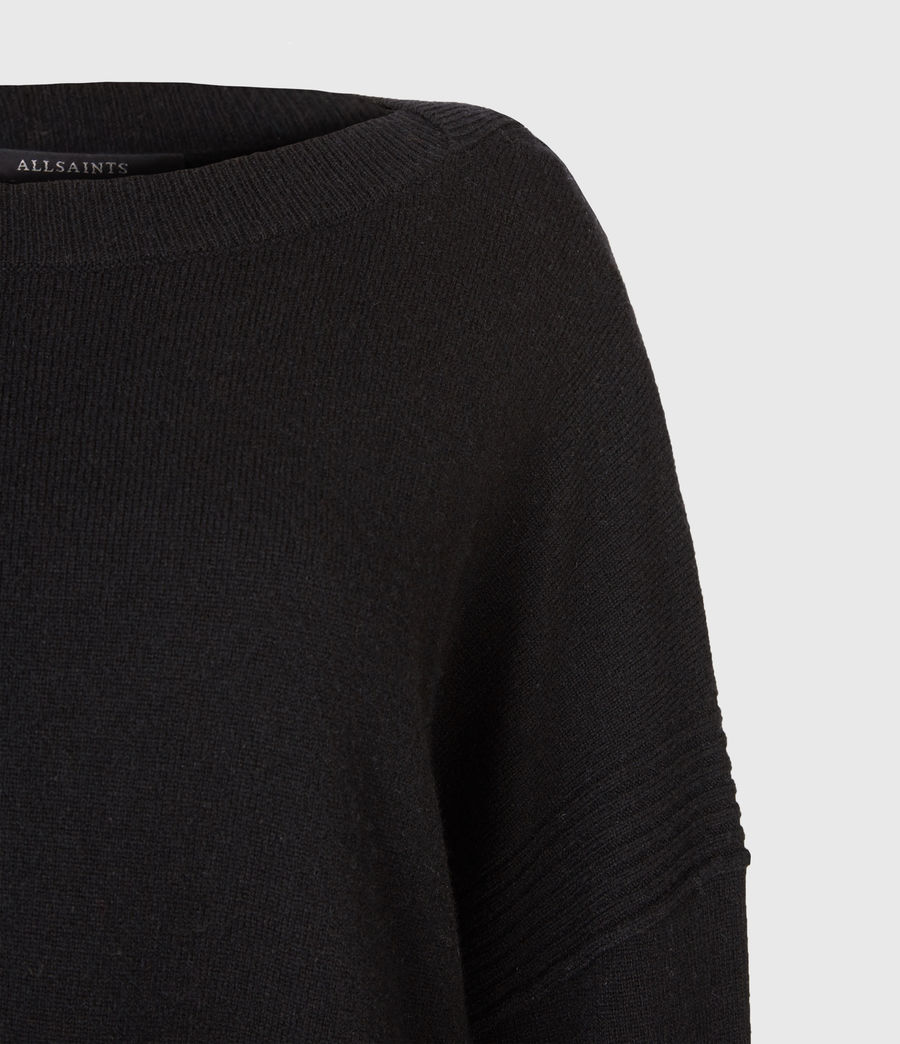 Womens Tara Pointelle Sweater (black) - Image 4