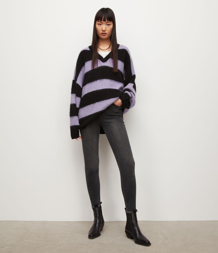 Womens Lou V-Neck Sweater (black_lilac) - Image 1