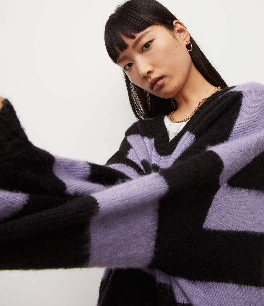 Womens Lou V-Neck Sweater (black_lilac) - Image 2