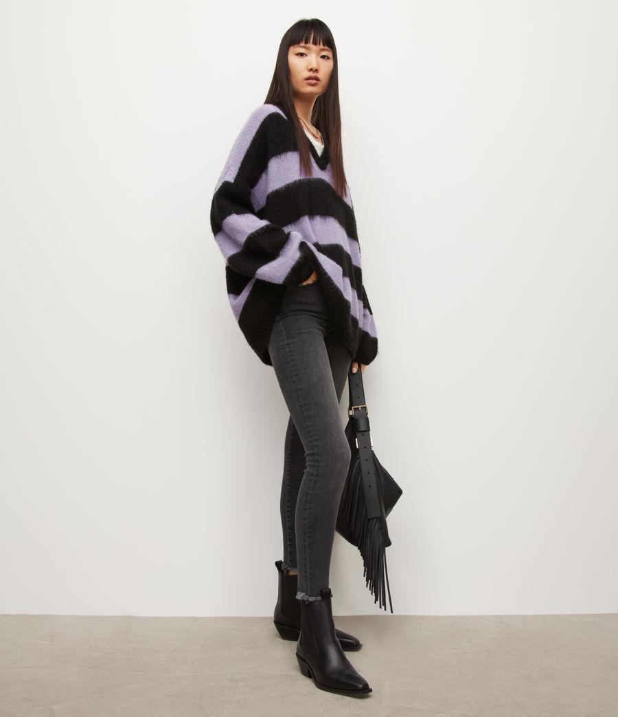 Womens Lou V-Neck Sweater (black_lilac) - Image 3