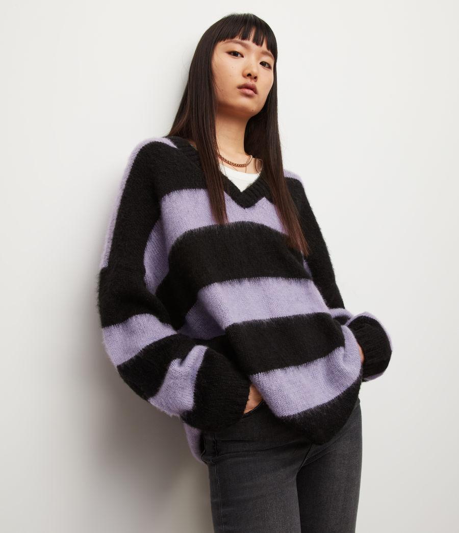 Womens Lou V-Neck Sweater (black_lilac) - Image 4