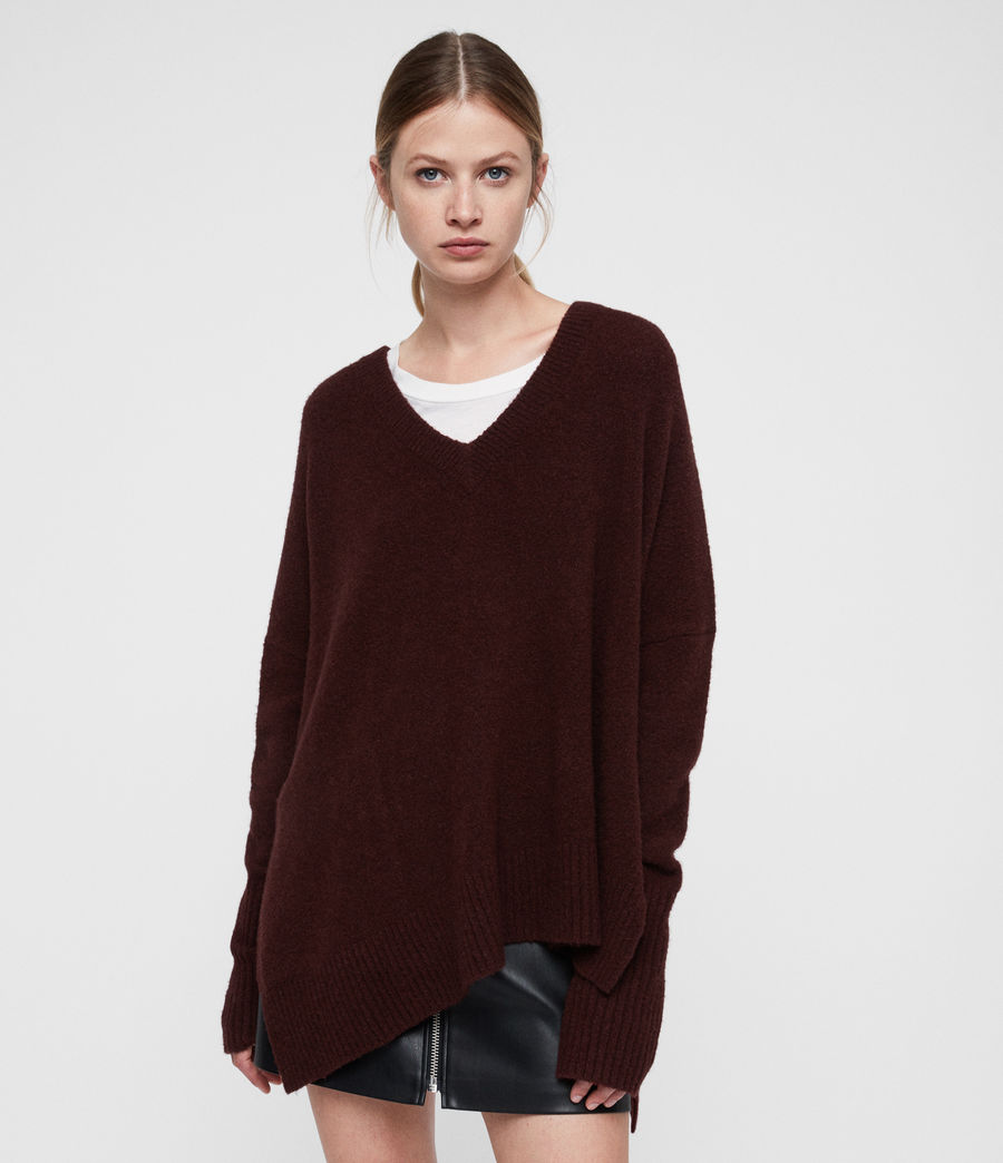 Damen Hawk V-Ausschnitt Pullover (dark_rust_red) - Image 1