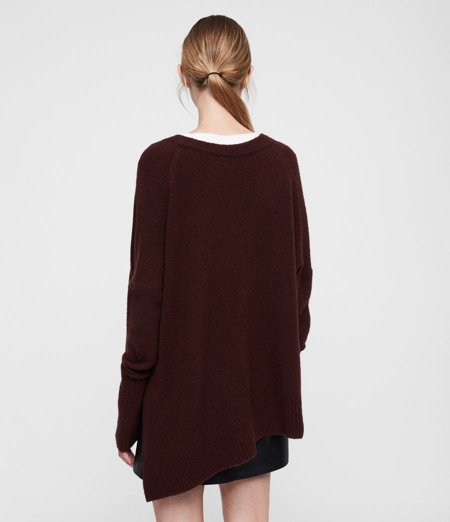 Women's Hawk V-neck Jumper (dark_rust_red) - Image 3