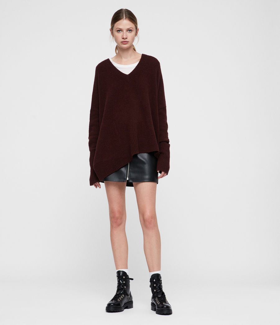 Women's Hawk V-neck Jumper (dark_rust_red) - Image 4