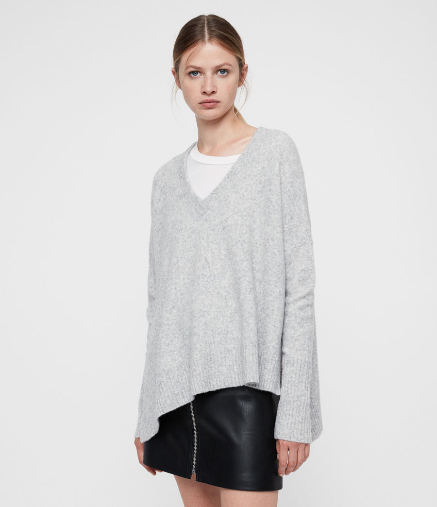 V Neck Sweater in Grey Marl