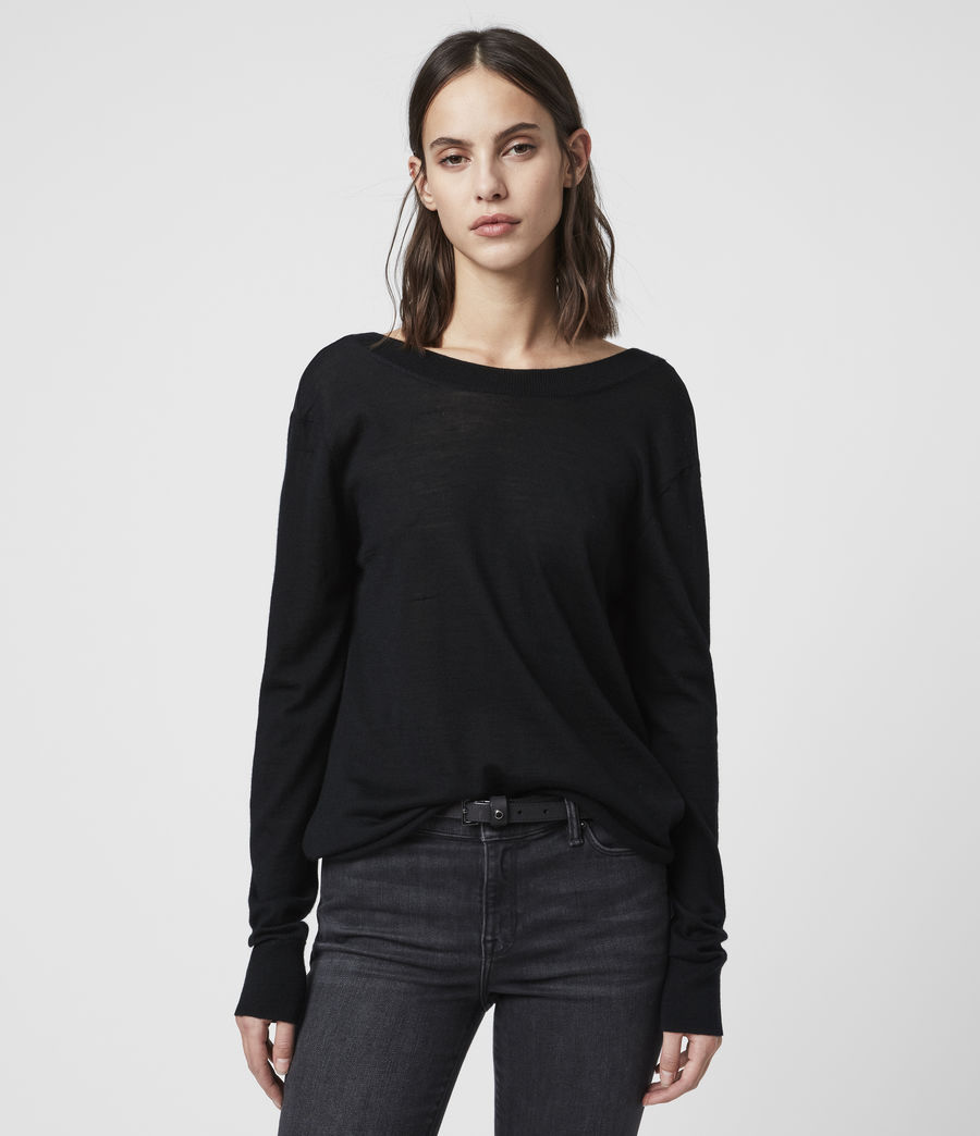 Women's Celeste Cowl Neck Jumper (black) - Image 1