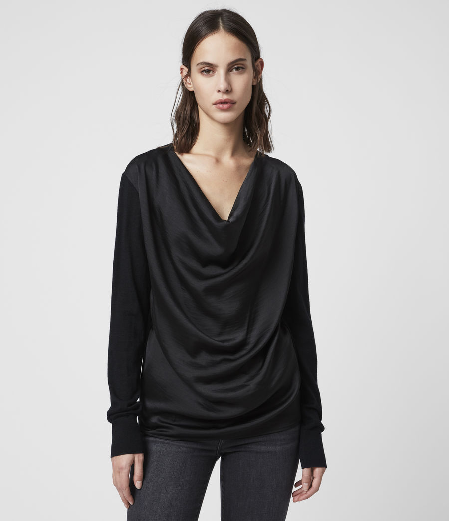 Women's Celeste Cowl Neck Jumper (black) - Image 4