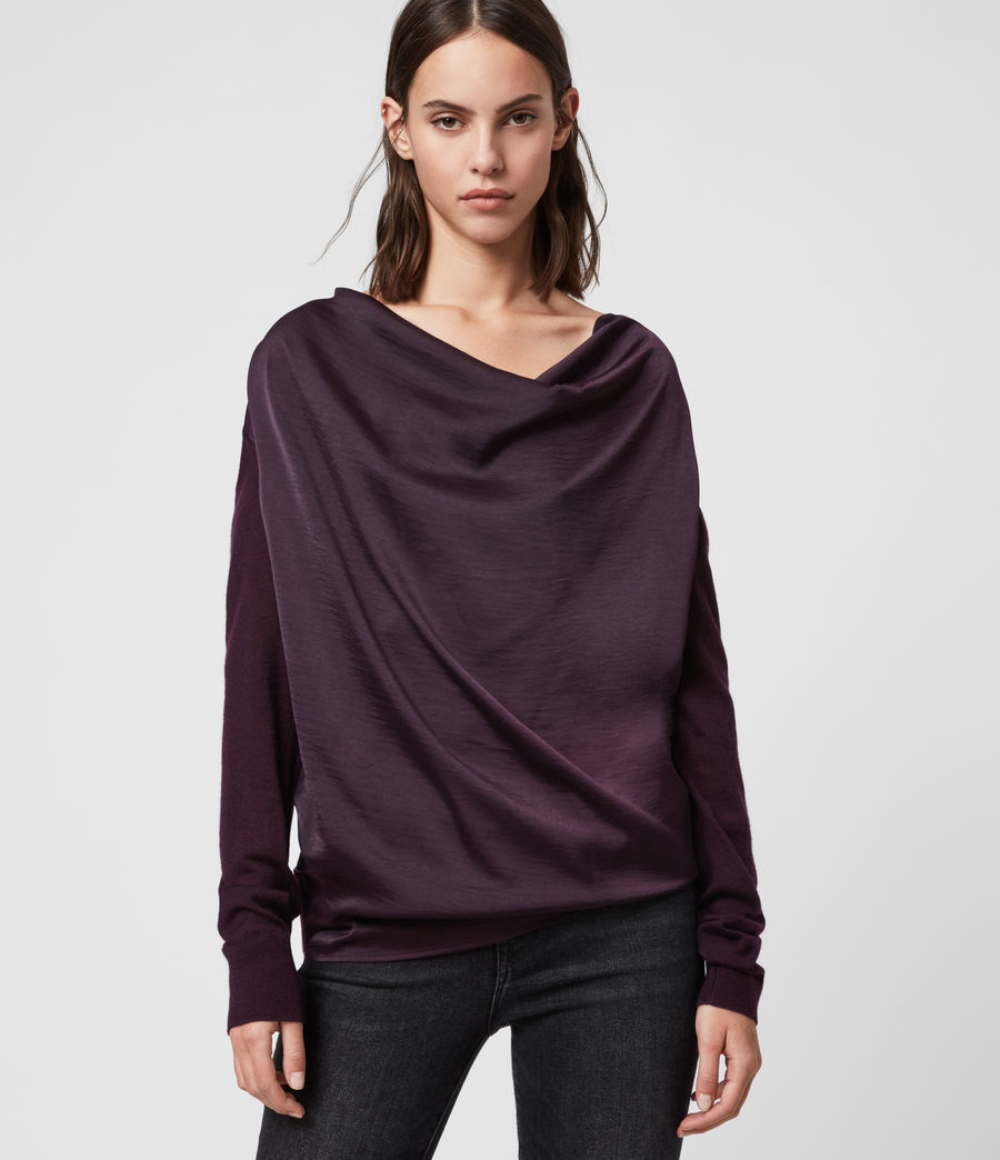 Women's Celeste Cowl Neck Jumper (port_purple) - Image 1