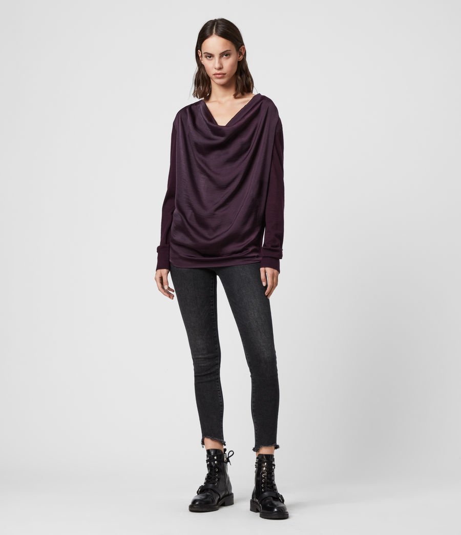 Women's Celeste Cowl Neck Jumper (port_purple) - Image 2