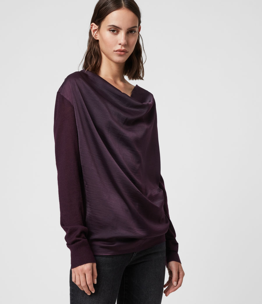 Women's Celeste Cowl Neck Jumper (port_purple) - Image 4