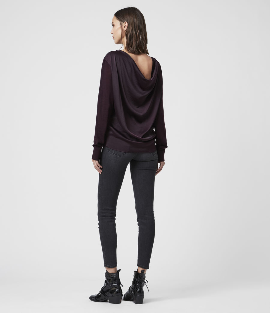 Women's Celeste Cowl Neck Jumper (port_purple) - Image 6