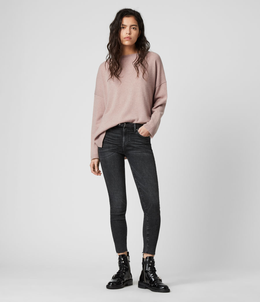 Womens Tara Cashmere Blend Sweater (mid_grey_marl) - Image 3