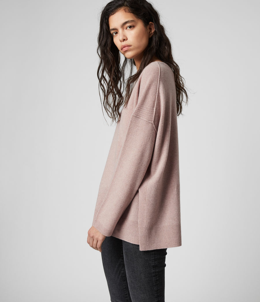 Womens Tara Cashmere Blend Sweater (mid_grey_marl) - Image 4