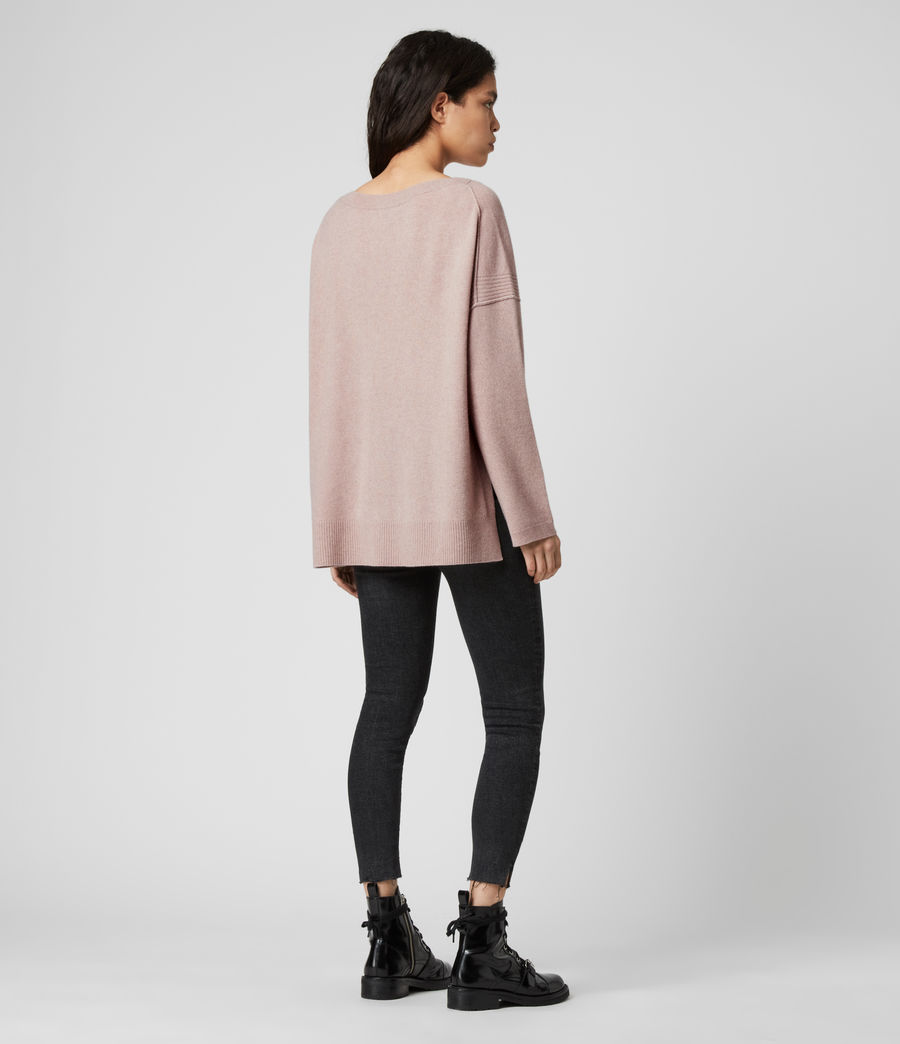 Womens Tara Cashmere Blend Sweater (mid_grey_marl) - Image 6